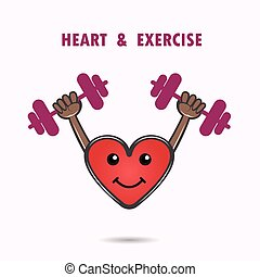 Smile heart shape with the barbell on background.Heart Care...