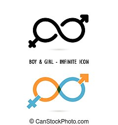 Man and woman sign and infinite creativity icon elements design