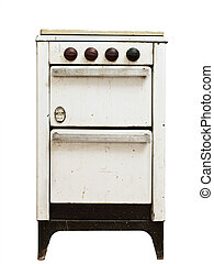 old gas stove - old vintage gas stove over white background