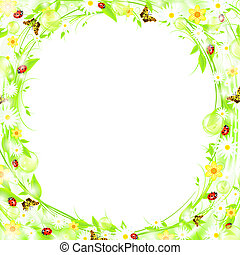 summer frame - Green sprout bubbly summer or spring frame...