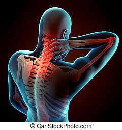 painful neck - medically accurate 3d illustration of painful...