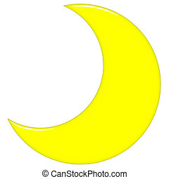 3D Crescent Moon - 3d crescent moon isolated in white