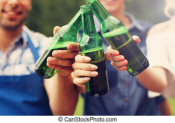 Group of friends toasting beer - Picture presenting group of...