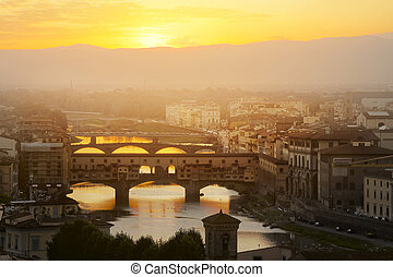 Evening over the Florence. Arno river and famous Ponte...