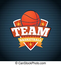 Basketball team logo template, with ball stars and ribbons. Vector