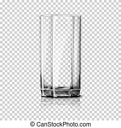 Transparent realistic Vector glass isolated on plaid...