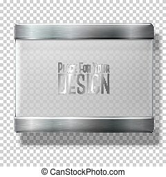 Opaque transparent vector glass plate with metal holders, for your signs, on plaid background.