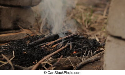 Flames of wood ember. With gloved hand. - Flames of wood...