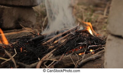 Wood ember with spurts of flame. - Flames of wood ember for...