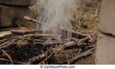 Flames of wood ember. With dry hay and flash fire. - Flames...