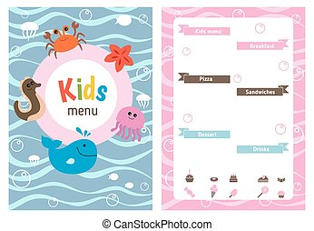 Kids menu design