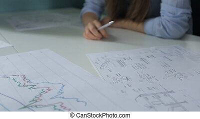 Various kinds of graphs and schemes lie on table in office....