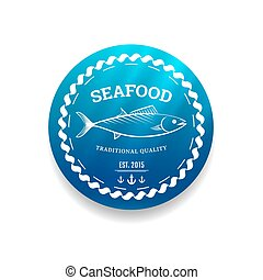 Fresh seafood label - Premium quality seafood label with...
