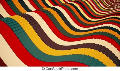 Lines in various colors with grooves undulated
