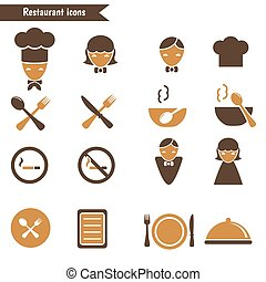 Set of restaurant icons. - Set of restaurant icons on white...