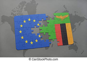 puzzle with the national flag of european union and zambia...