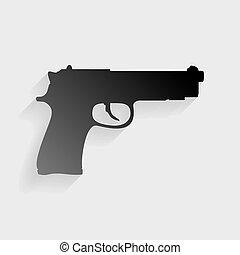 arma de fuego, señal, Ilustración, negro,...