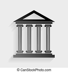 Historical building illustration. Black paper with shadow on gray background.
