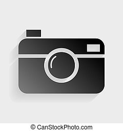 Digital photo camera sign Black paper with shadow on gray...