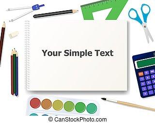 Vector illustration of school supplies tools