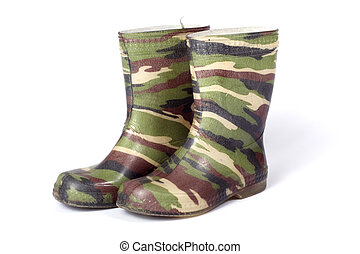 camouflage gum boots, photo on the white background