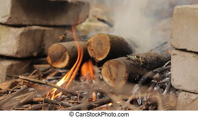 Burning wooden logs with smoke. - Burning wooden logs with...