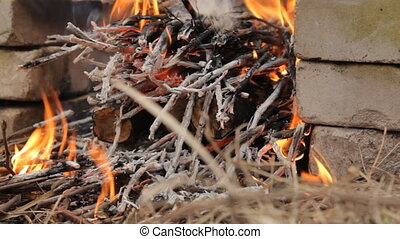 Burning wooden logs with small twigs. - Burning wooden logs...