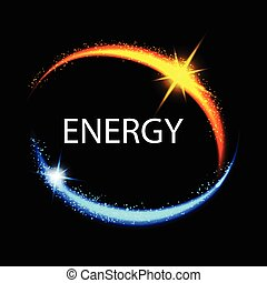 Energy frame. Shining circle banner. Magic light neon energy circle. Glowing fire ring trace.