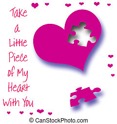 puzzled heart - fuchsia heart with puzzle piece missing...