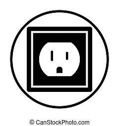 Electric outlet icon. Thin circle design. Vector...