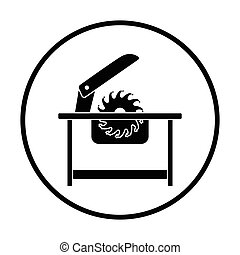 Circular saw icon Thin circle design Vector illustration