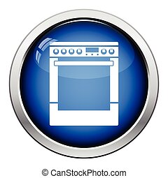 Kitchen main stove unit icon Glossy button design Vector...