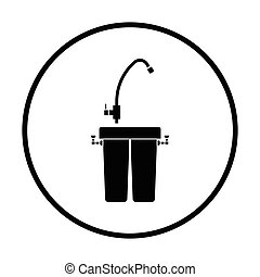 Water filter icon Thin circle design Vector illustration
