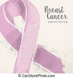 Breast cancer awareness pink ribbon illustration