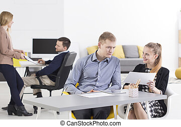 We share our ideas - Two couples of employees discuss the...