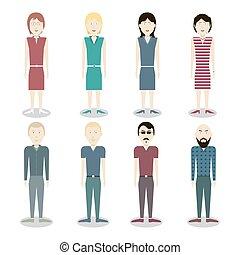 Set of vector people. Men and women.