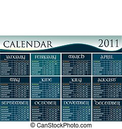 Calendar 2011 with calligraphic letters