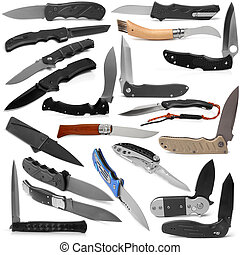 Selection of various clasp knife on white background