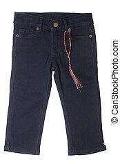Children's wear - denim breeches isolated on white...