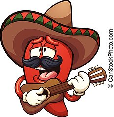 Mexican chili pepper singing with a guitar. Vector clip art...
