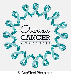 Ovarian cancer awareness ribbon design with text - Ovarian...