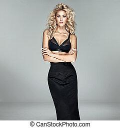 Fashion shot of a beautiful blond woman - Fashion shot of a...