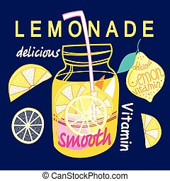 Graphic bright lemonade - Bright card with a can of lemonade...