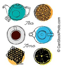 Tea time concept. Hand drawn artistic vector illustration....