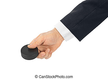 Hand with hockey puck