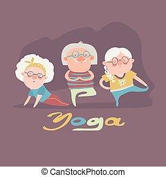 Senior people doing yoga exercise
