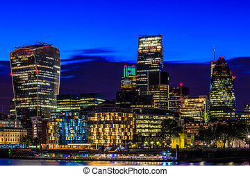 Financial District of London at Night