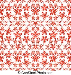 Flowers seamless background red