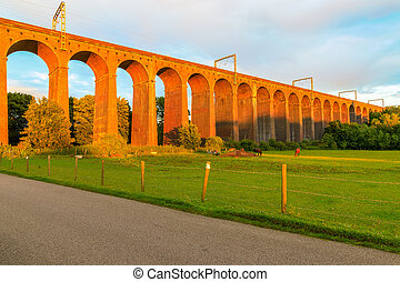 Sunset at Digswell Viaduct in the UK - Orange sunset at...