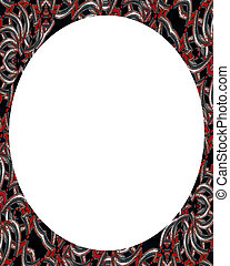 Circle White Background with Decorated Round Borders - White...